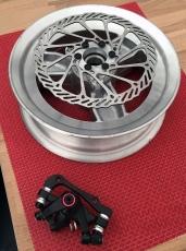 Alu Felge / Rad mit Adapter, Bremsscheibe und Bremse